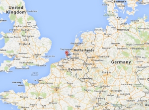 Figure 1: The Scheldt Estuary, ©Google Maps 2013. Walcheren is the knob at the end of the peninsula stretching out into the Scheldt. Its capital is Middelburg, and its largest port is Flushing.