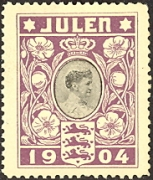 The first Christmas seal was produced in Denmark 1904. It featured an image of Denmark's Queen. Source: Wikipedia Public Domain