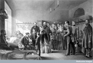L0012176 Queen Victoria visiting soldiers wounded in the Crimean war. Credit: Wellcome Library, London. Wellcome Images images