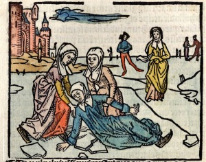 A depiction of Saint Lidwina's skating accident, which triggered her MS. Lidwina is known not only as the patron saint of disease and suffering, but also of ice skaters. Source: John Brugman, Vita of Lidwina, 1498.
