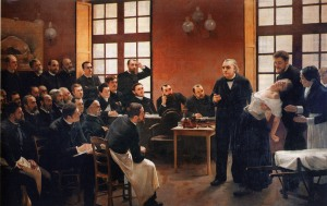 Charcot demonstrating the use of hypnosis during one of his classes. Source: Université Paris V