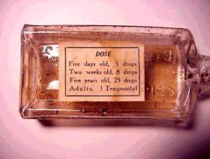 The back of the bottle indicating laudanum was deemed safe for infants. Source: University of Buffalo, Addiction Research Unit of the Department of Psychology